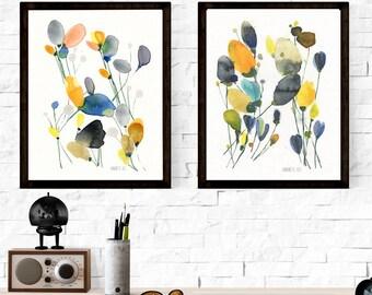 Modern set of flower art prints. Botinacal flowers. Meadow flower wall art. Set of 2 botanical art prints. Set of wall art. Minimalist art.