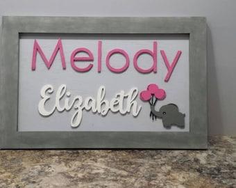 Nursery sign, Nursery decor, Elephant nursery, Baby shower gift, Baby Room Decor, Elephant decor, Framed Nursery sign, Custom nursery decor