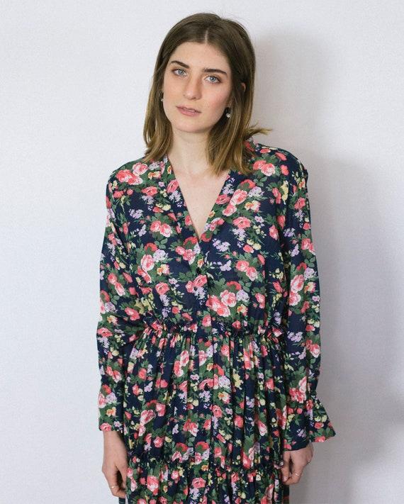 Dress Dress Evening Evening Floral Dress Floral Maxi Button Boho Dress Floral Floral Dress Bohemian Evening Boho Maxi Blue Gown Maxi z4OqwcCxgX