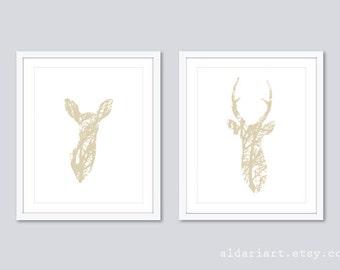 Modern Deer Prints - Deer Wall Art  - Deer and Doe Prints - Deer antlers Wall Art - Stag Print - Set of 2 Prints - Bedroom Wall Art