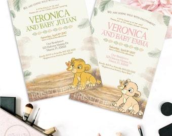 Simba Baby Shower Invitation, Nala Baby Shower Invitation, The Lion King  Baby Shower Invitation, Boy And Girl Baby Shower Invitation