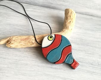 Necklace with fish pendant in ceramics-lovers of fish-gifts for her-ceramic jewelry-handmade ceramics-Ceramic fish