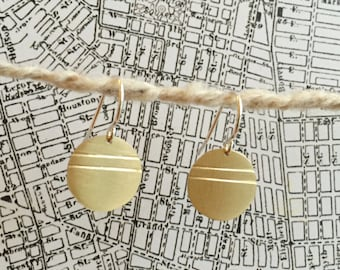 Scored Circle Earrings In Brass