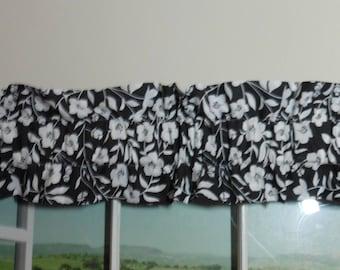 Black & White Floral Ruffled Sleeve Valance