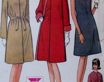Vintage 1960s McCalls 7973  Misses' &  Junior Dress and  Reversible Coat Size 14 Bust 34