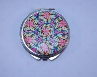 Polymer Clay Embellished Compact Purse Mirror, Rainbow Dreamcatcher