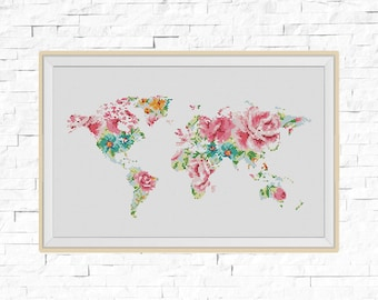 BOGO FREE! World Map Cross Stitch Pattern, Floral World Map Silhouette Flowers Counted Cross Stitch Chart Modern Decor, PDF Download #025-17
