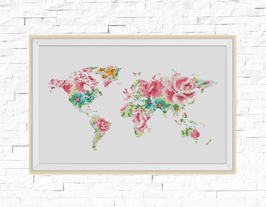 Bogo free world map cross stitch pattern floral world map world map cross stitch pattern floral world map silhouette flowers counted cross stitch chart modern decor pdf download 025 17 gumiabroncs Choice Image
