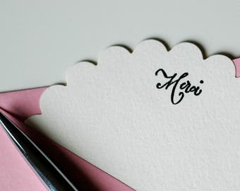 MERCI SCALLOP CARDS - French thank you merci stationery set of 5 with cream scalloped flat cards, black merci, rose pink envelopes