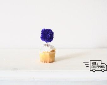 1 Dozen (Set of 12) Violet Purple Pom Pom Cake or Cupcake Topper Party Birthday Decoration