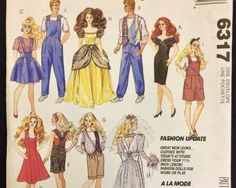 Vintage DOLL CLOTHES Sewing Pattern ~ Barbie & Ken Fashion Dolls Wardrobe McCalls 6317 Uncut