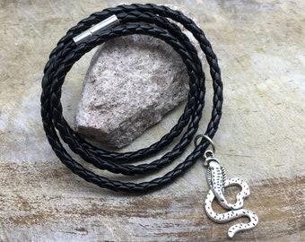 Snake Bracelet Faux Leather Bracelet Snake Charm Bracelet Snake Gift Snake Jewelry Women's Bracelet Men's Bracelet Cobra Bracelet Cobra Gift