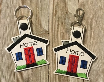 Key Chains, Zipper Pulls, Home, House, housewarming, Handmade, Embroidered, Key Fob, gift, New home, realtor, real estate