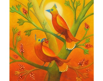 Two Birds  - Archival print of watercolor painting. Art Print. Nature or Animal Illustration. Red and Orange.