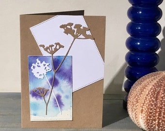 Handmade OOAK Watercolour Floral Greetings Card ~ Birthday, Congratulations ~ One Of A Kind Blank Card