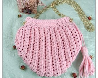 Handbag Shell / dusty rose crochet bag / summer bag / dusty rose knit bag / rope bag / summer tote