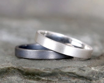 3mm Matte Finish Wedding Band – Sterling Silver – Commitment Rings – Wedding Bands – Unisex Design – Modern –Oxidized Patina or Plain Finish