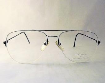 Blue Metal Rimless Aviator Eyeglasses Vintage 1980s Designer Glasses Mens Super Thin Wire Frames