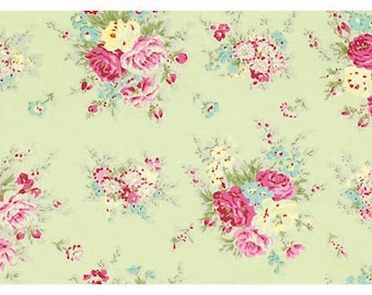 Rosey Little Bouquet TW064 Green - Shabby Cottage Country chic fabric by Tanya Whelan -