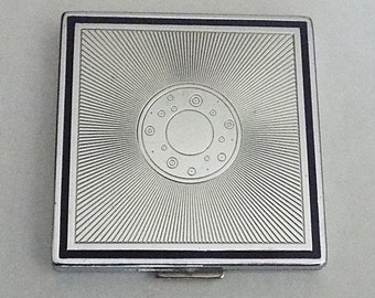 Vintage 1960s Art Deco Evening in Paris Bourjois Square Silvertone Compact