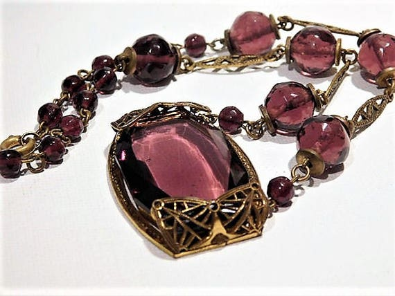 Art Deco Czech Amethyst Glass Necklace
