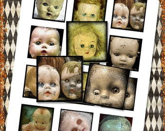 """Creepy Doll Heads for Halloween 2"""" Squares for Shabby ViNtAGe JeWelRY AlTerED ArT"""