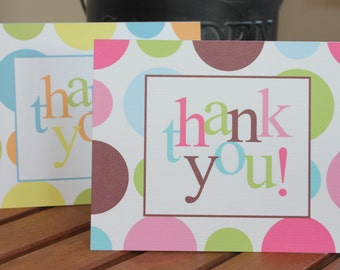 Colorful Polka Dot Thank You Card - Baby Shower, Birthday - Additional Colors Available