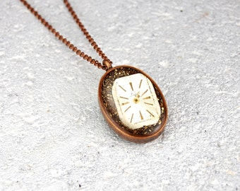 Double sided necklace. Watch necklace. Steampunk Necklace