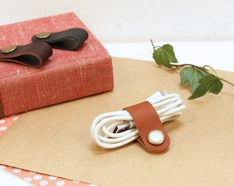 Leather cable tidy/earphone organiser