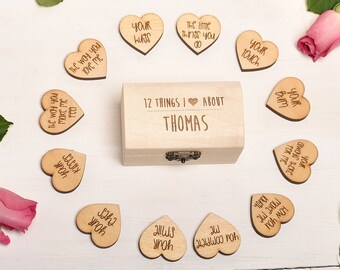 Valentines Gift for Him Gift for Her, 12 Things I love about? Mini Keepsake Chest. Personalised Romantic Gift