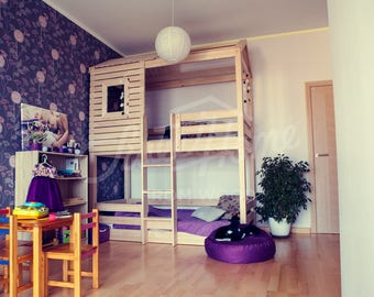 Bunk bed from birch wood, single size house bed for family, bed as home, twin size bunk bed from birch wood