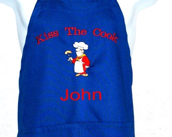 Kiss The Male Cook Apron,  Funny Cook With Hot Dog, Personalize With Name, No Shipping Charges, Ready To Ship TODAY, AGFT 613