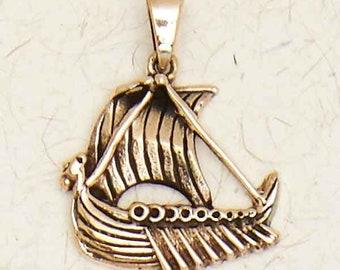 Norse Viking Ship-Bronze-Pendant