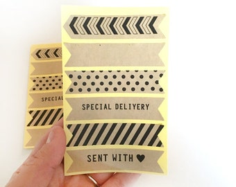 12 kraft paper sticker - packaging label - snail mail sticker - gift wrapping label sticker - packaging decoration - fun mail gift seals