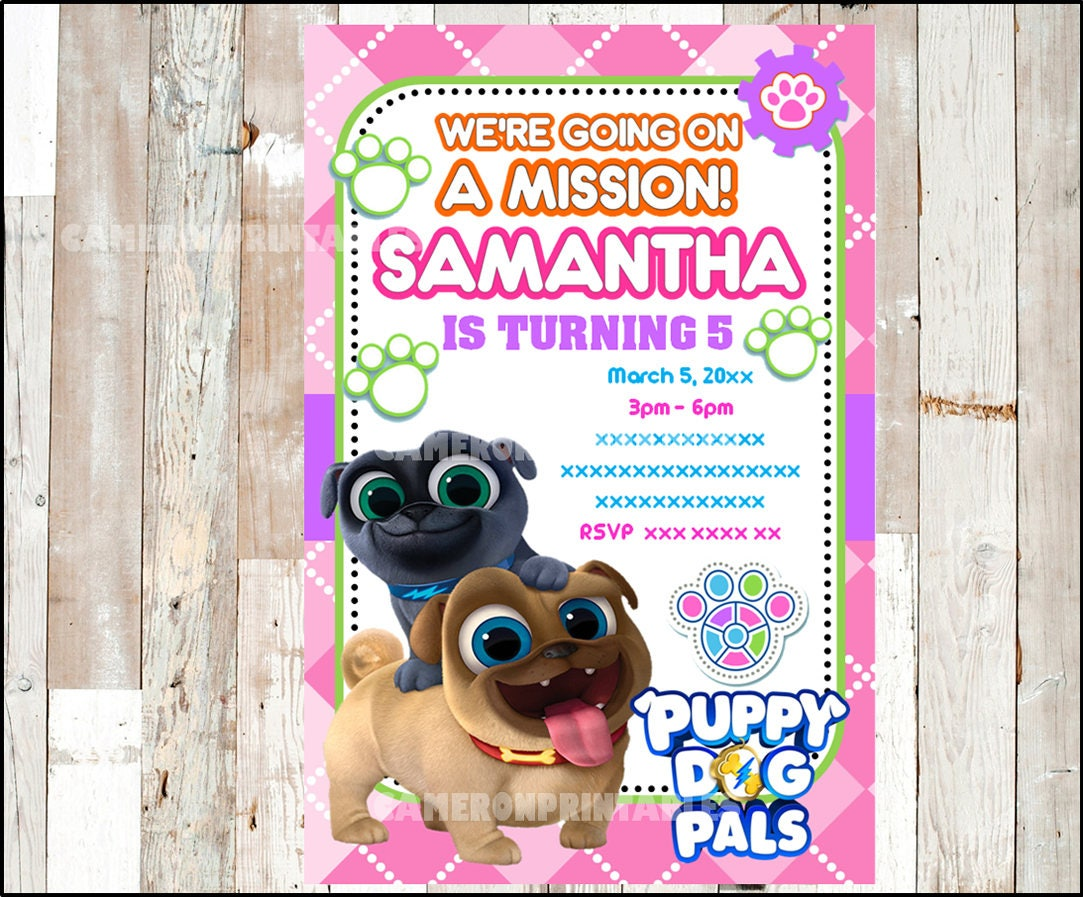 Puppy Dog Pals Invitation Printable Pink Puppy Dog Pals party