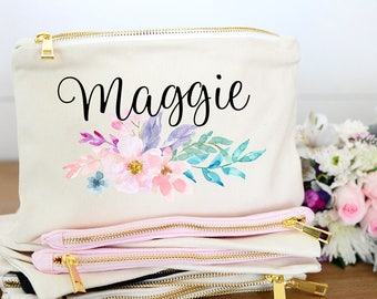 Floral Bridesmaid Monogram Makeup bag, Floral Bridesmaid Initial Makeup Bag, Floral Bridesmaid Initial Cosmetic Bag, Floral Monogram Bag