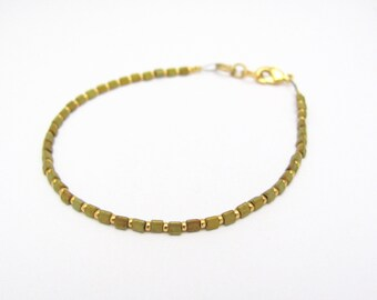 Gold Metallic Bracelet Minimal Modern Urban Jewerly, Layer Stack Yoga Zen, Neutral Gold Iris Matte Triangle Beads, Friendship Bracelet, Gift