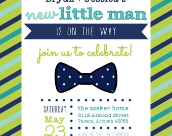 Little Man Baby Shower Invitation DIGITAL FILE