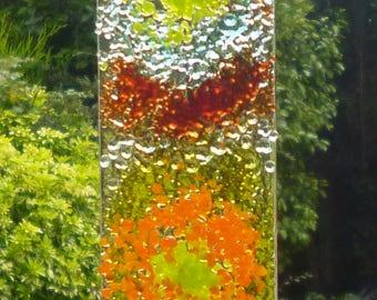 Power Flower Suncatcher. Rainbow Colored Suncatcher.  Glass Suncatcher.  Glass Art. Wall Art