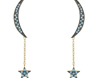 Moon and Star Earring Gold Turquoise