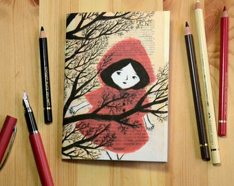 Small illustrated notebook - Little Red Riding Hood in the Snow - pattern 1