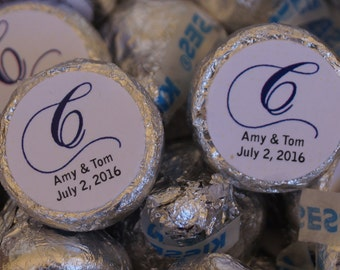 Initial Wedding Kisses, Personalized wedding Kisses, wedding favors, Personalized Kisses. Set of 100.