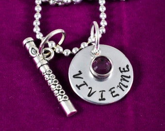 Flute necklace, Flute Keychain, Personalized Flute Jewelry, Band Gift, Band Teacher Gift, Band Mom Gift