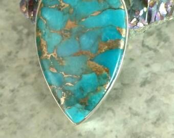 Copper Blue Turquoise Pendant Necklace