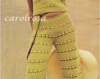 PDF Crochet Pattern - Retro 70s Mod Top and Pants/Trousers UK sizes 10 and 12 Download