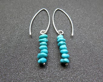 turquoise dangle earrings. December birthstone jewelry. sterling silver ear wires. made in Canada