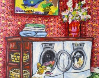 corgi laundry dog art PRINT JSCHMETZ pop folk abstract modern