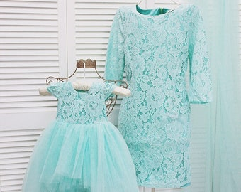 Teal Mother daughter matching lace dress Mini dress Sexy