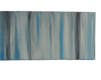 "Blue Fog - Horizontal Abstract Painting 15""x30""x1.5"" Canvas Gray Painting, White Painting, Blue Painting, Home Decor, Wall Art, Abstract Art"