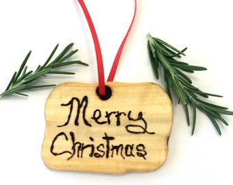 Merry Christmas Ornament Made From Reclaimed Birch